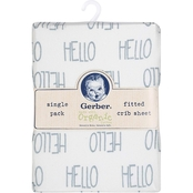 Gerber Gray Hello Organic Cotton Fitted Crib Sheet