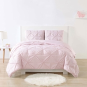 My World Stripe Pinch Pleat Pink Twin XL Duvet Set