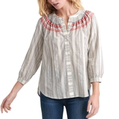 Lucky Brand Smocked Peasant Shirt