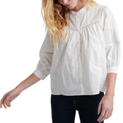 Lucky Brand Poplin Peasant Top