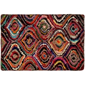 Chesapeake Chindi Hexagon Multicolored Hand Tufted 24 x 60 in. Bath Rug
