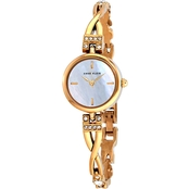 Anne Klein Women's Swarovski Crystal Accented Goldtone Bangle Watch Set
