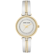 Anne Klein Women's Swarovski Crystal Accented Two Tone Bangle Watch AK/3249SVTT