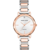 Anne Klein Women's Silvertone and Rose Goldtone Diamond Accent Bracelet Watch