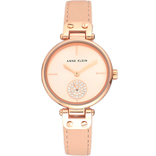 Anne Klein Women's Swarovski Crystal Accented Leather Strap Watch AK/3380