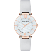 Anne Klein Women's Swarovski Crystal Accented Leather Strap Watch AK/3272RGLG