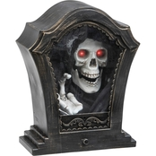 Animated Tabletop Décor-w/sound-Tombstone Tapping Skeleton w/Red Eyes