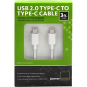USB2.0 Type C to Type C Cable 3ft White