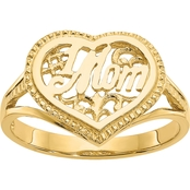 14K Yellow Gold  #1 Mom in Heart Ring