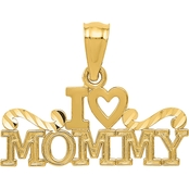 14k Yellow Gold I Heart Mommy Charm