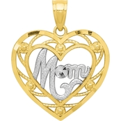 10K and Rhodium Mom Heart Charm