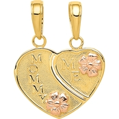 14K Two Tone Gold Mommy and Me Breakable Heart Charm
