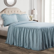 Ruffle Skirt Bedspread Neutral 3Pc Set Queen