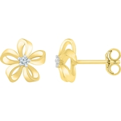 10K Yellow Gold 1/20 CTW Diamond Fashion Earrings