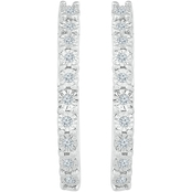 Sterling Silver 1/5 CTW Diamond Hoop Earrings
