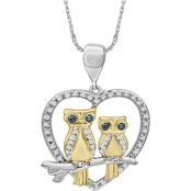 Animal's Rock Sterling Silver and 14K Plated 1/7 CTW Diamond Heart Owl Pendant
