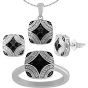 Sterling Silver Black Diamond Accent 3 pc. Set