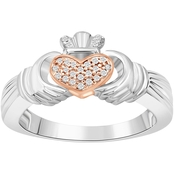 14K Gold Over Sterling Silver 1/10 CTW Diamond Claddagh Ring