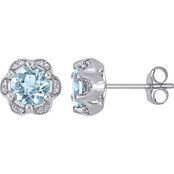 Sofia B. 14K White Gold Aquamarine and Diamond Accent Flower Stud Earrings
