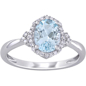 Sofia B. Aquamarine and 1/8 CT TW Diamond Halo Ring in 10k White Gold