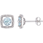 Sofia B. 10K White Gold Aquamarine and Diamond Accent Halo Stud Earrings