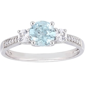 Aquamarine, Created White Sapphire and Diamond 3-Stone Ring in 10k White Gold