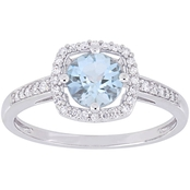 Sofia B. Aquamarine and 1/7 CT TW Diamond Halo Ring in 10k White Gold