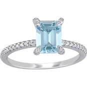 Sofia B. 14K White Gold Aquamarine and 1/10 CTW Diamond Ring