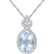 Sofia B. Oval-Cut Aquamarine and 1/6 CT TW Diamond Halo Necklace in 10k White Gold