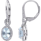 Sofia B. Oval-Cut Aquamarine and 1/4 CT TW Diamond Halo Earrings in 10k White Gold