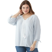 AGB Plus Size Striped Peasant Top