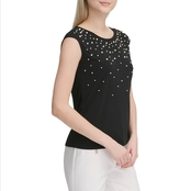 Calvin Klein Extended Shoulder Top with Ombre Pearl