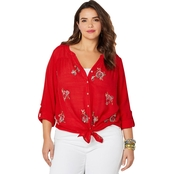 Avenue Plus Size Button Front Embroidered Shirt