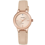 Armitron Women's Diamond-Accented Rose Gold-Tone and Black Leather Strap Watch