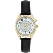 Armitron Women's 75/5679WTGPBK Easy to Read Gold-Tone and Black Leather Strap Watch