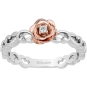 Sterling Silver with  14K Rose Gold plating diamond accent