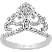 Disney Enchanted Sterling Silver 1/4 CTW Diamond Ariel Ring, Size 7