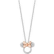 Disney Enchanted Sterling Silver Over 14K Rose Goldtone 1/10 CTW Diamond Pendant