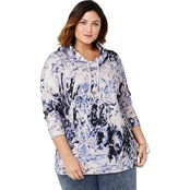 Avenue Plus Size Marble French Terry Hoodie