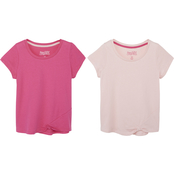 Gumballs Infant Girls Coral and Magenta Knotted Hem Tee 2 pk.