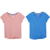 Gumballs Infant Girls Geranium & Blue Knotted Hem Tees 2 pk.