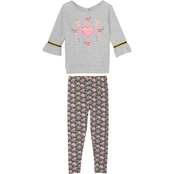 Gumballs Infant Girls Jersey Heather Grey Floral Top and Leggings 2 pc. Set