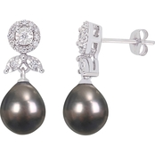 Michiko 10K White Gold Tahitian Cultured Pearl and 1/5 CTW Diamond Earrings