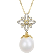 Michiko 14K Gold South Sea Cultured Pearl and 1/4 CTW Diamond Floral Necklace