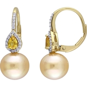 14K Golden South Sea Pearl, Yellow Sapphire and 1/8 CT TW Diamond Drop Earrings