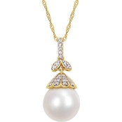 14K Yellow Gold South Sea Cultured Pearl and 1/10 CT TW Diamond Drop Necklace