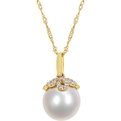 Michiko 14K Gold South Sea Cultured Pearl and Diamond Accent Necklace