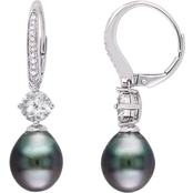 10K White Gold Tahitian Cultured Pearl and 1/10 CT TW Diamond Dangle Earrings