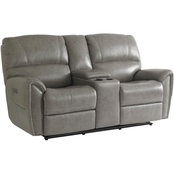 Bassett Manchester Motion Loveseat with Power and Console