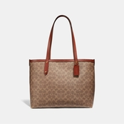 COACH WOMEN'S CENTRAL TOTE WITH ZIP TOP IN SIGNATURE CANVAS TAN RUST